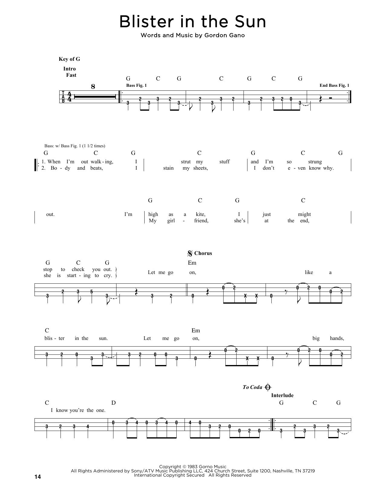 Blister In The Sun (Bass)