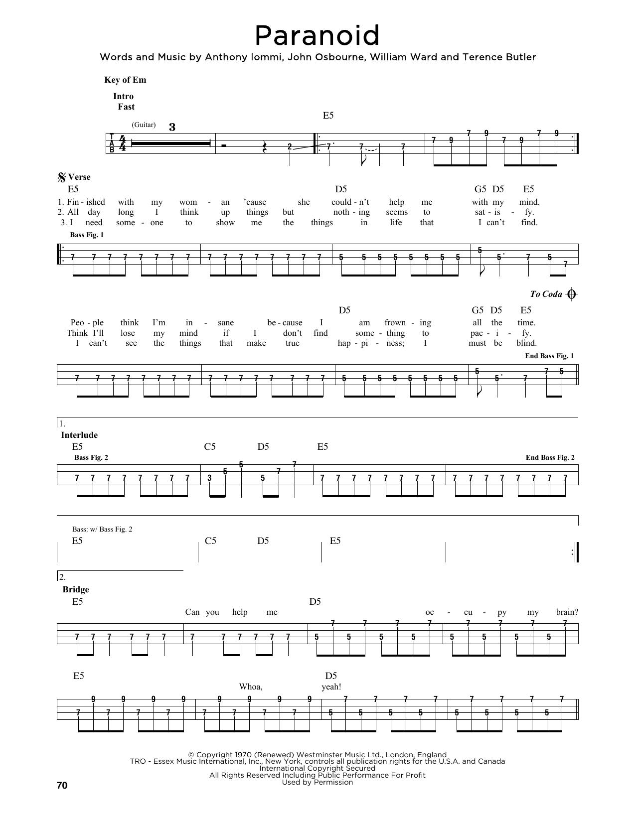 Paranoid (Easy Bass Tab)