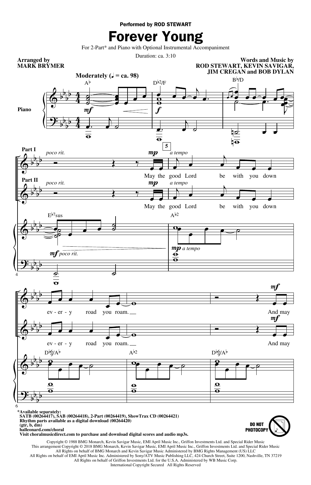 Forever Young (2-Part Choir)