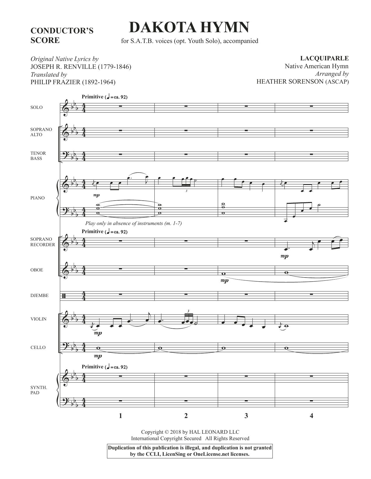 Dakota Hymn - Full Score (Choir Instrumental Pak)