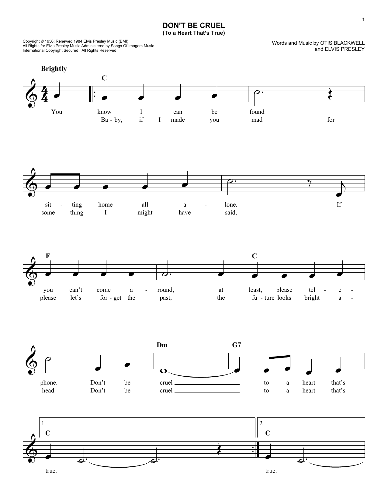 Don't Be Cruel (To A Heart That's True) (Lead Sheet / Fake Book)
