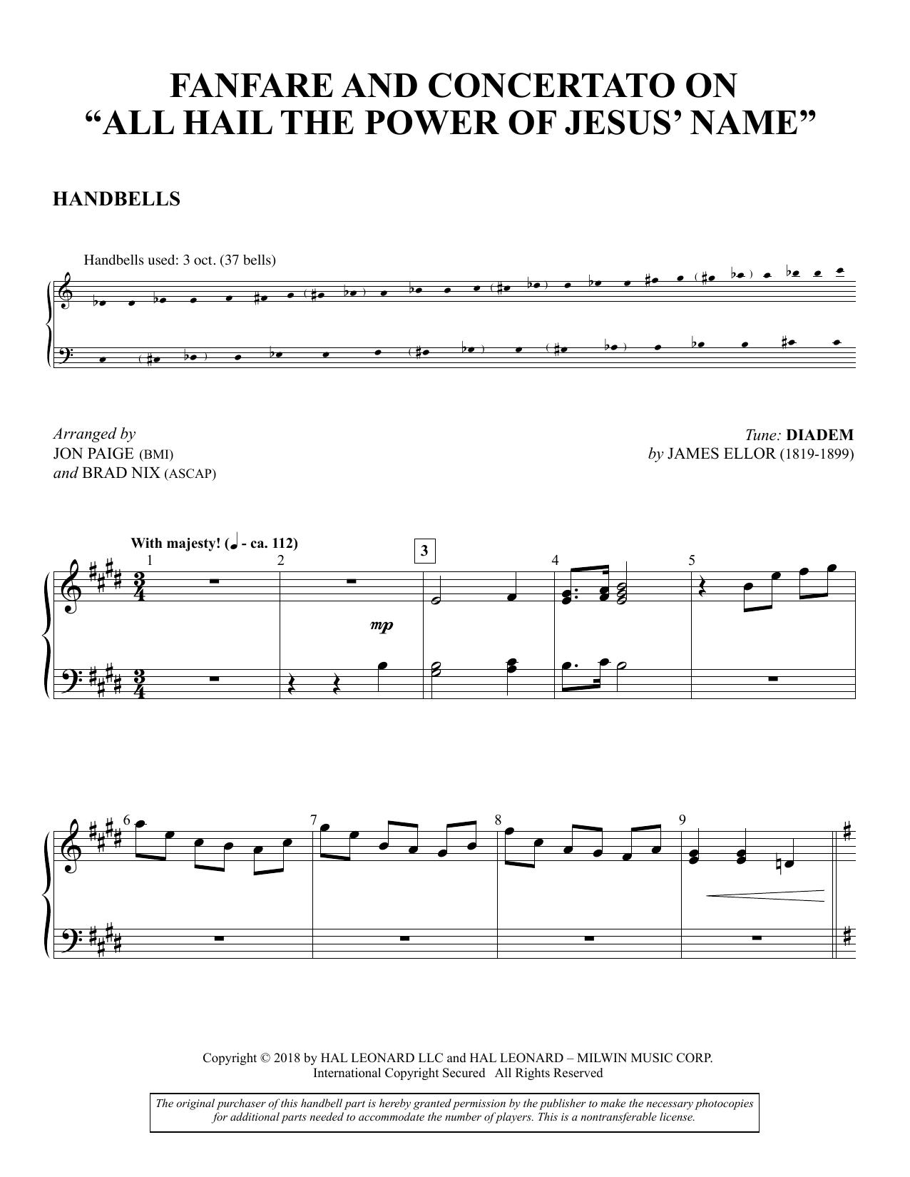 "Fanfare And Concertato on ""All Hail the Power of Jesus' Name"" - Handbells (Choir Instrumental Pak)"