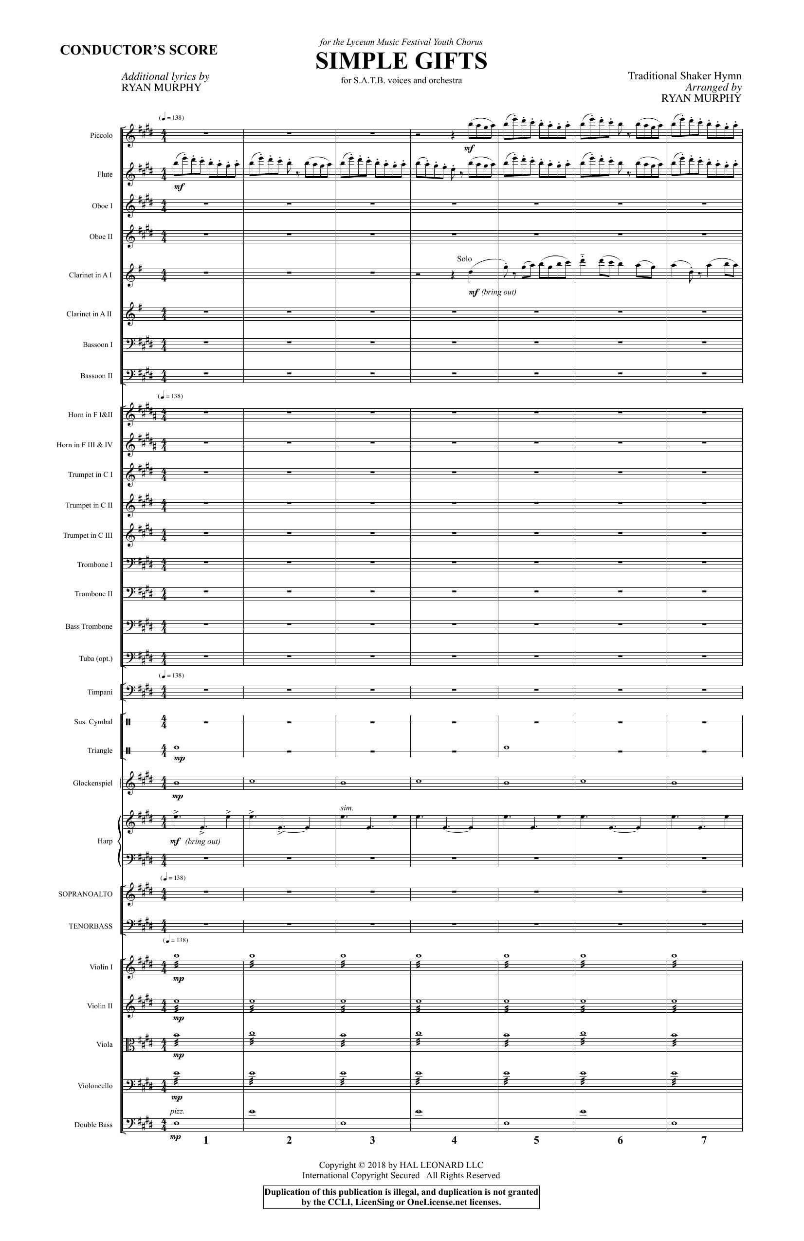Simple Gifts - Full Score (Choir Instrumental Pak)
