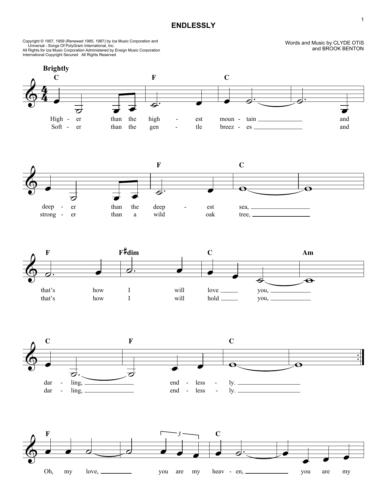 Endlessly (Lead Sheet / Fake Book)