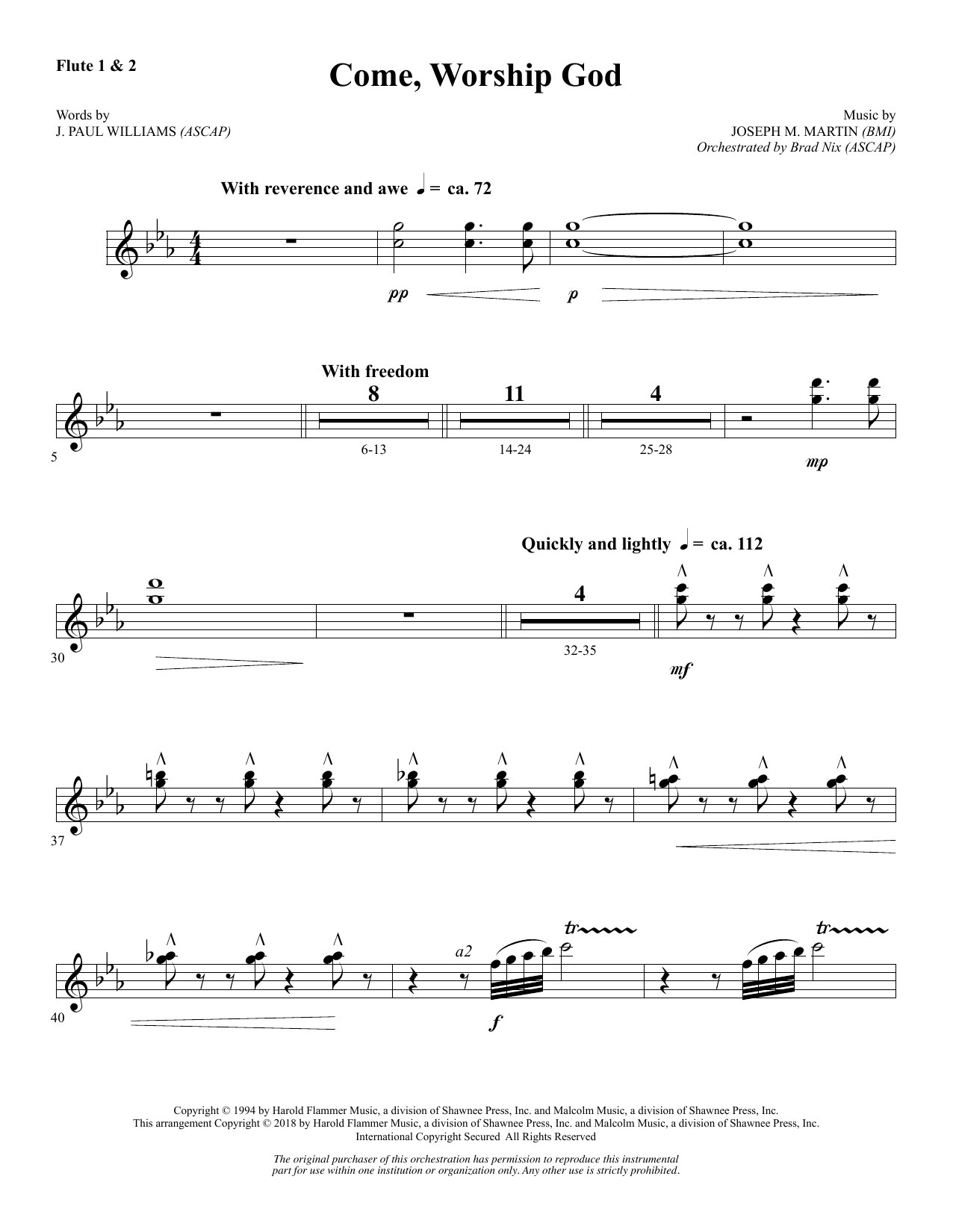 Come, Worship God - Flute 1 & 2 (Choir Instrumental Pak)
