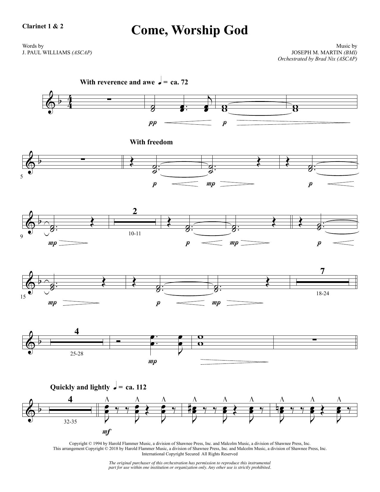 Come, Worship God - Bb Clarinet 1 & 2 (Choir Instrumental Pak)