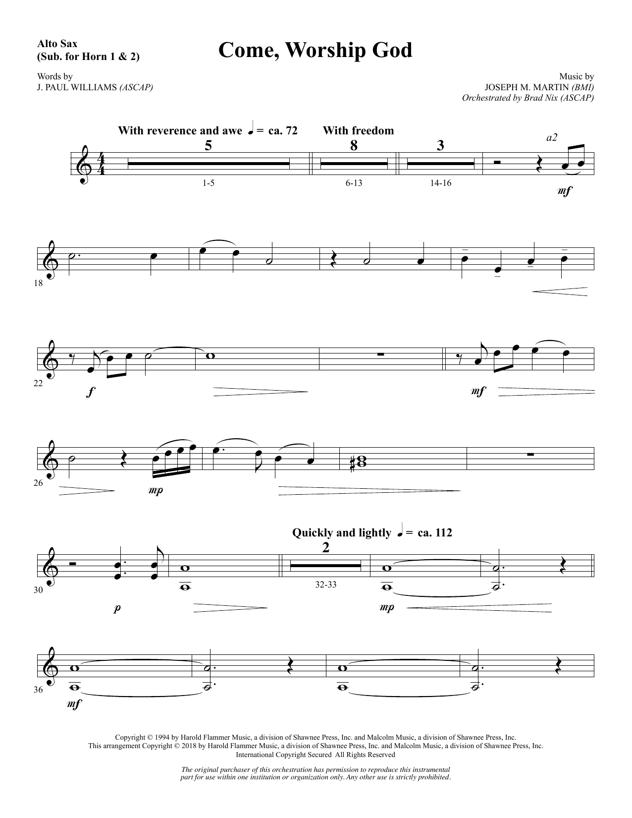 Come, Worship God - Alto Sax 1-2 (sub. Horn 1-2) (Choir Instrumental Pak)