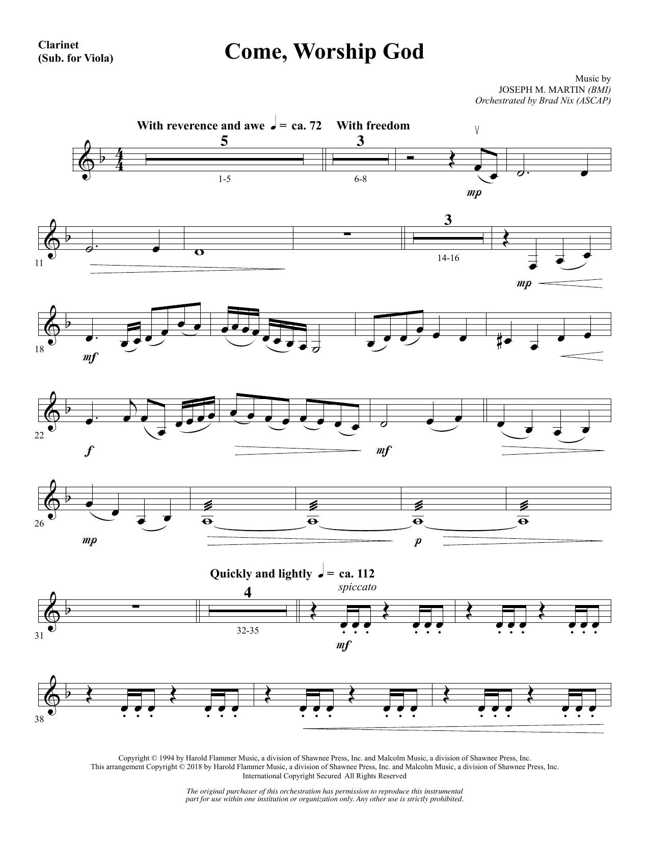 Come, Worship God - Clarinet (sub Viola) (Choir Instrumental Pak)