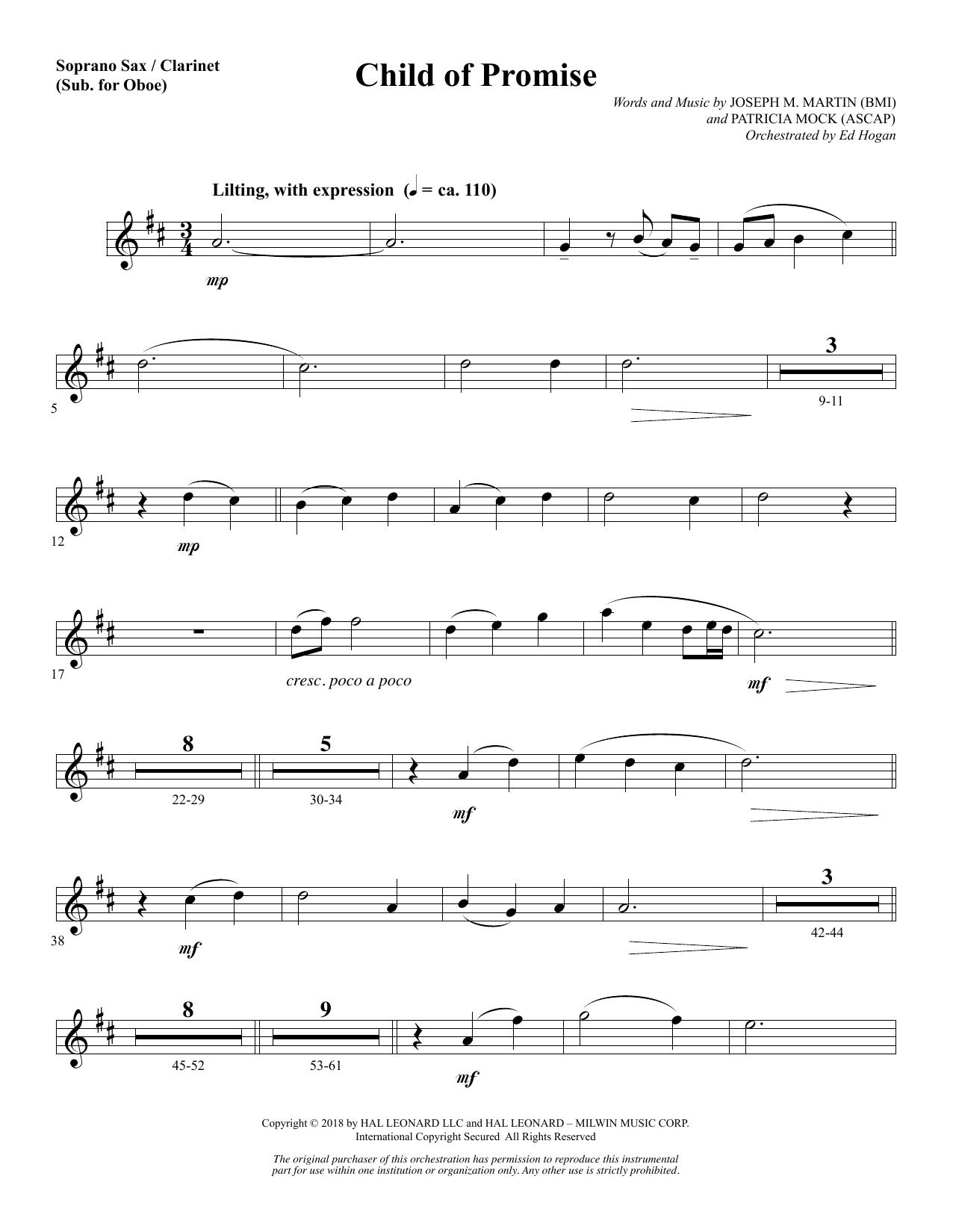 Child of Promise - Soprano Sax/Clarinet(sub oboe) (Choir Instrumental Pak)
