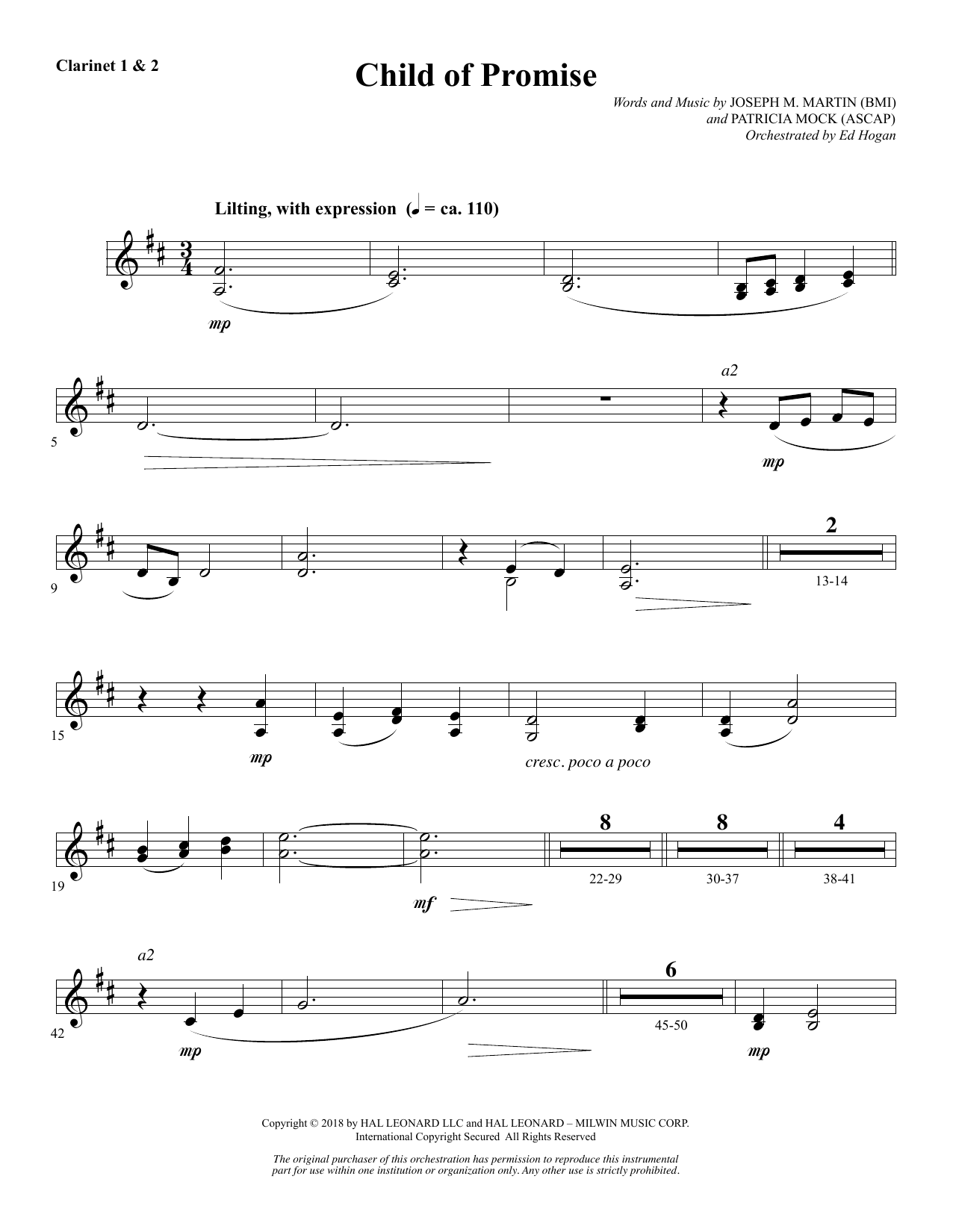 Child of Promise - Bb Clarinet 1 & 2 (Choir Instrumental Pak)