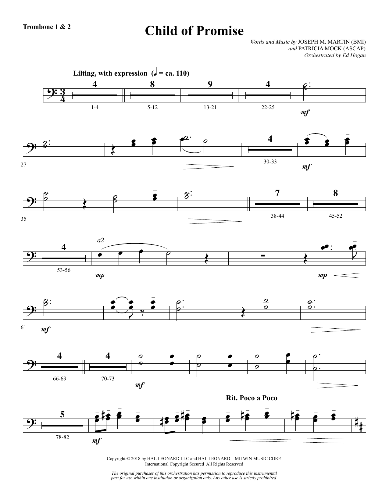 Child of Promise - Trombone 1 & 2 (Choir Instrumental Pak)