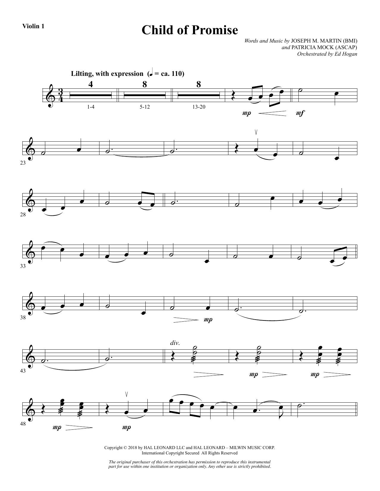 Child of Promise - Violin 1 (Choir Instrumental Pak)