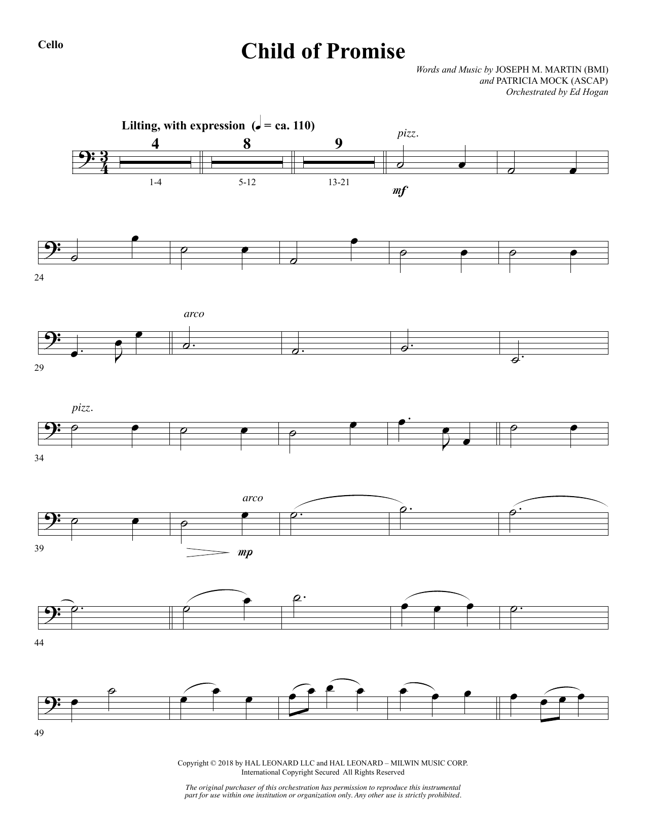 Child of Promise - Cello (Choir Instrumental Pak)