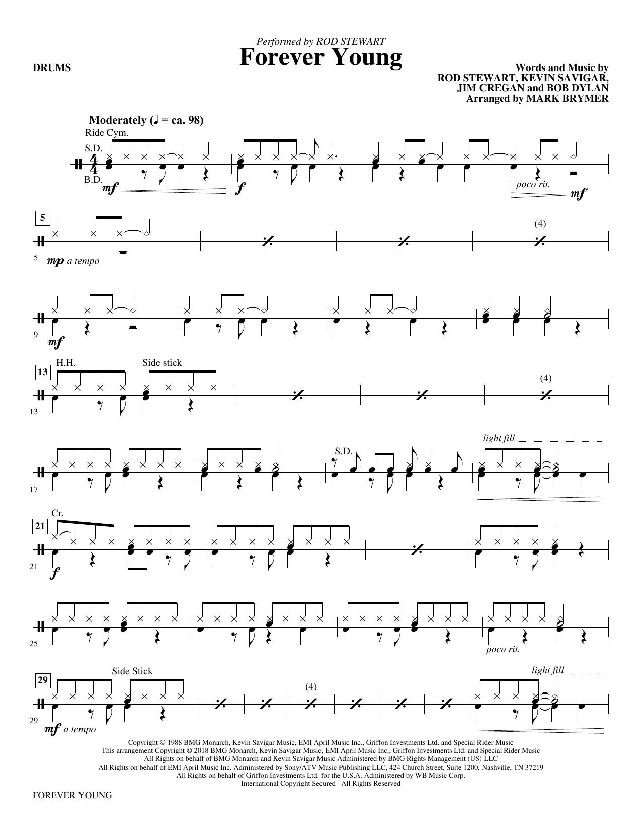 Forever Young - Drums (Choir Instrumental Pak)