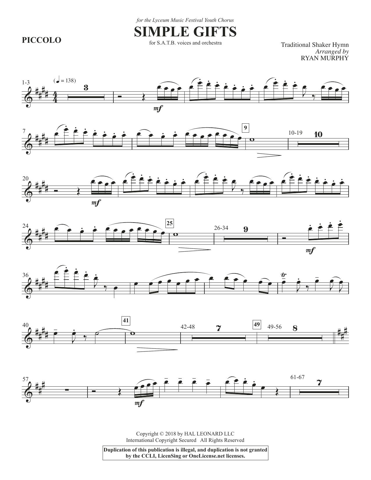 Simple Gifts - Piccolo (Choir Instrumental Pak)