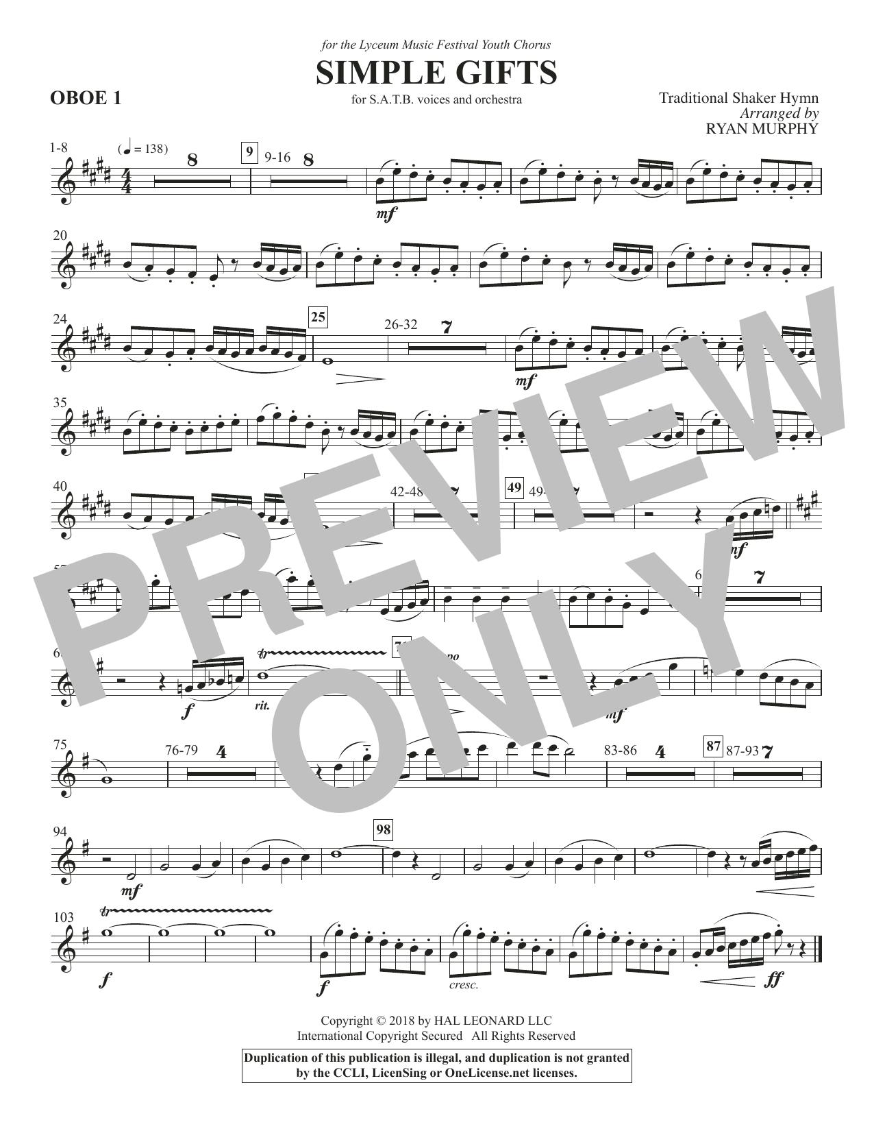 Simple Gifts - Oboe 1 (Choir Instrumental Pak)