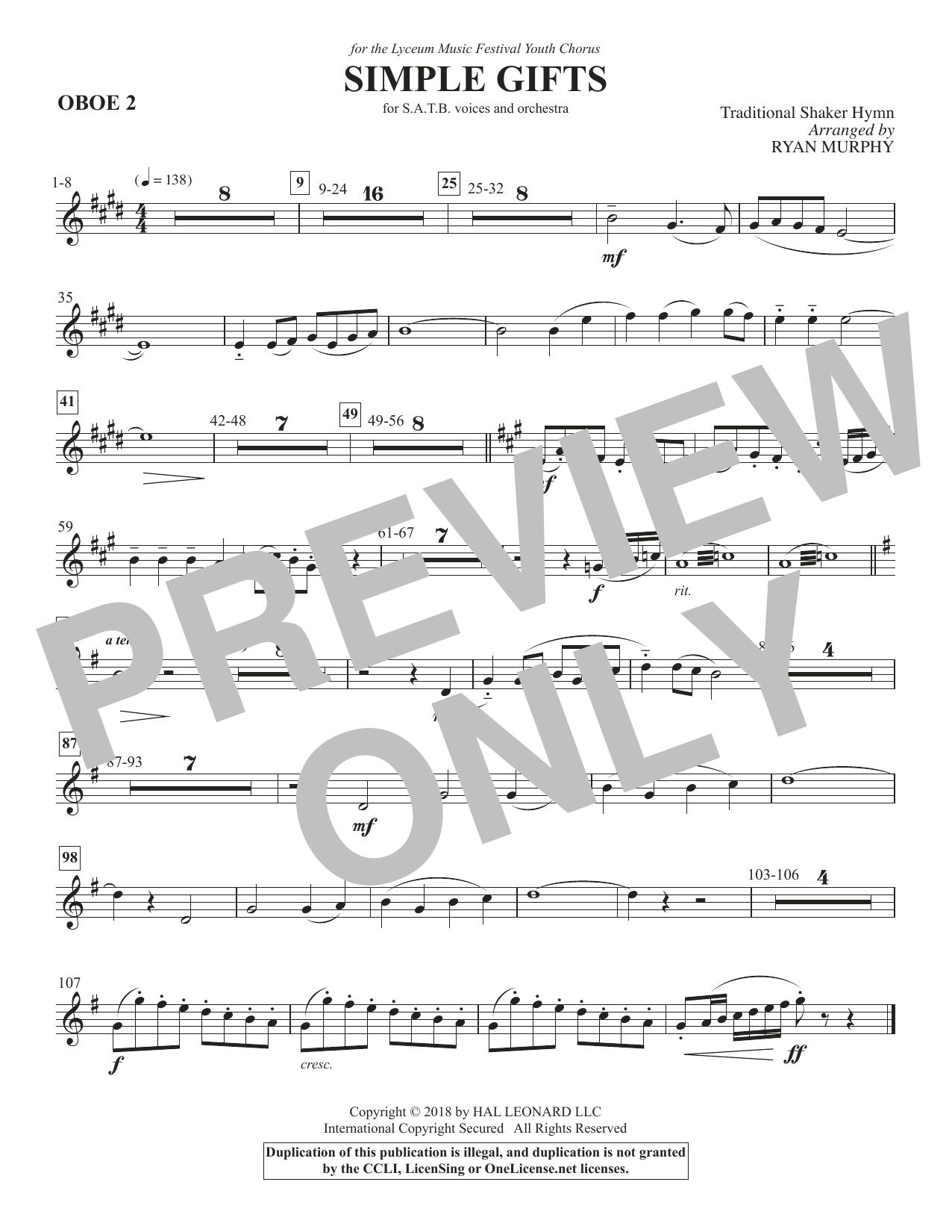 Simple Gifts - Oboe 2 (Choir Instrumental Pak)