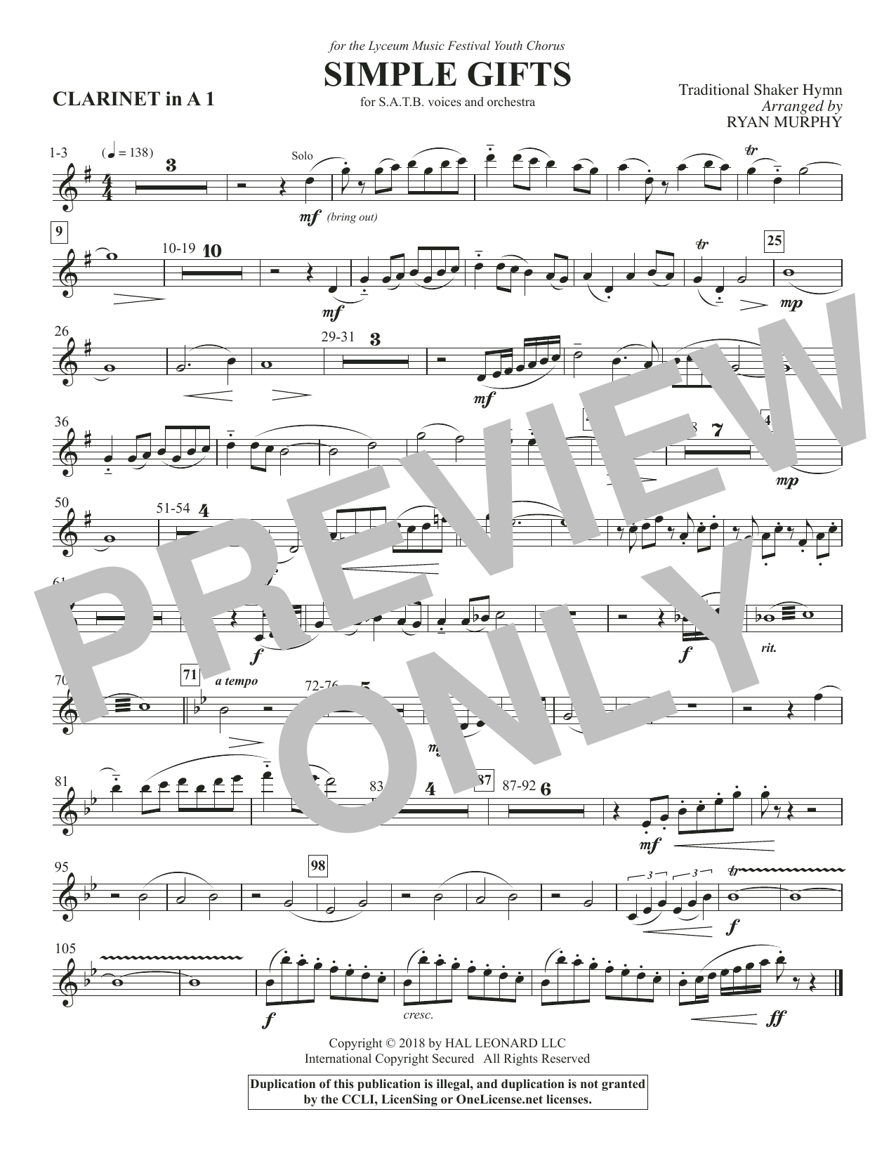 Simple Gifts - Clarinet 1 in A (Choir Instrumental Pak)