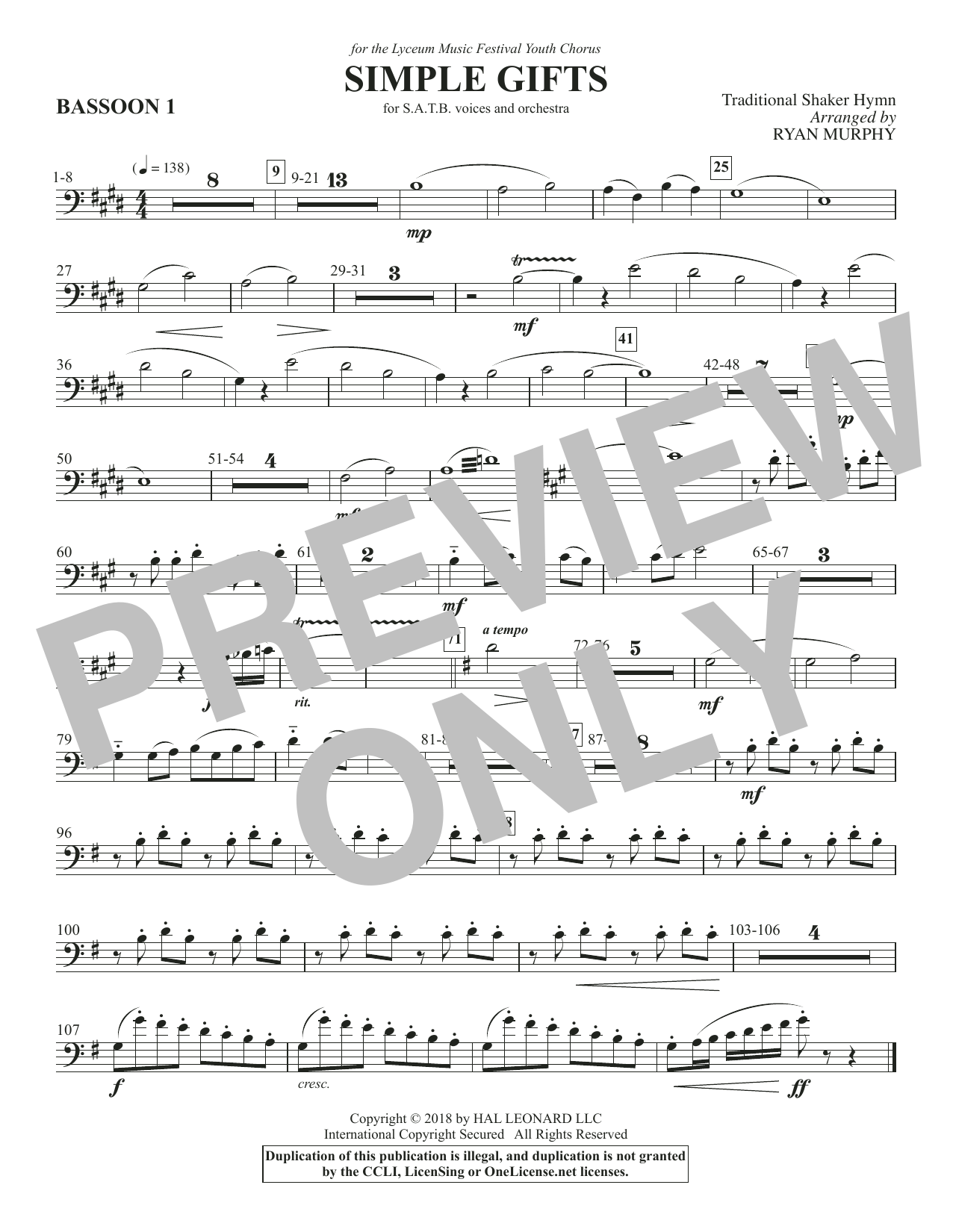 Simple Gifts - Bassoon 1 (Choir Instrumental Pak)