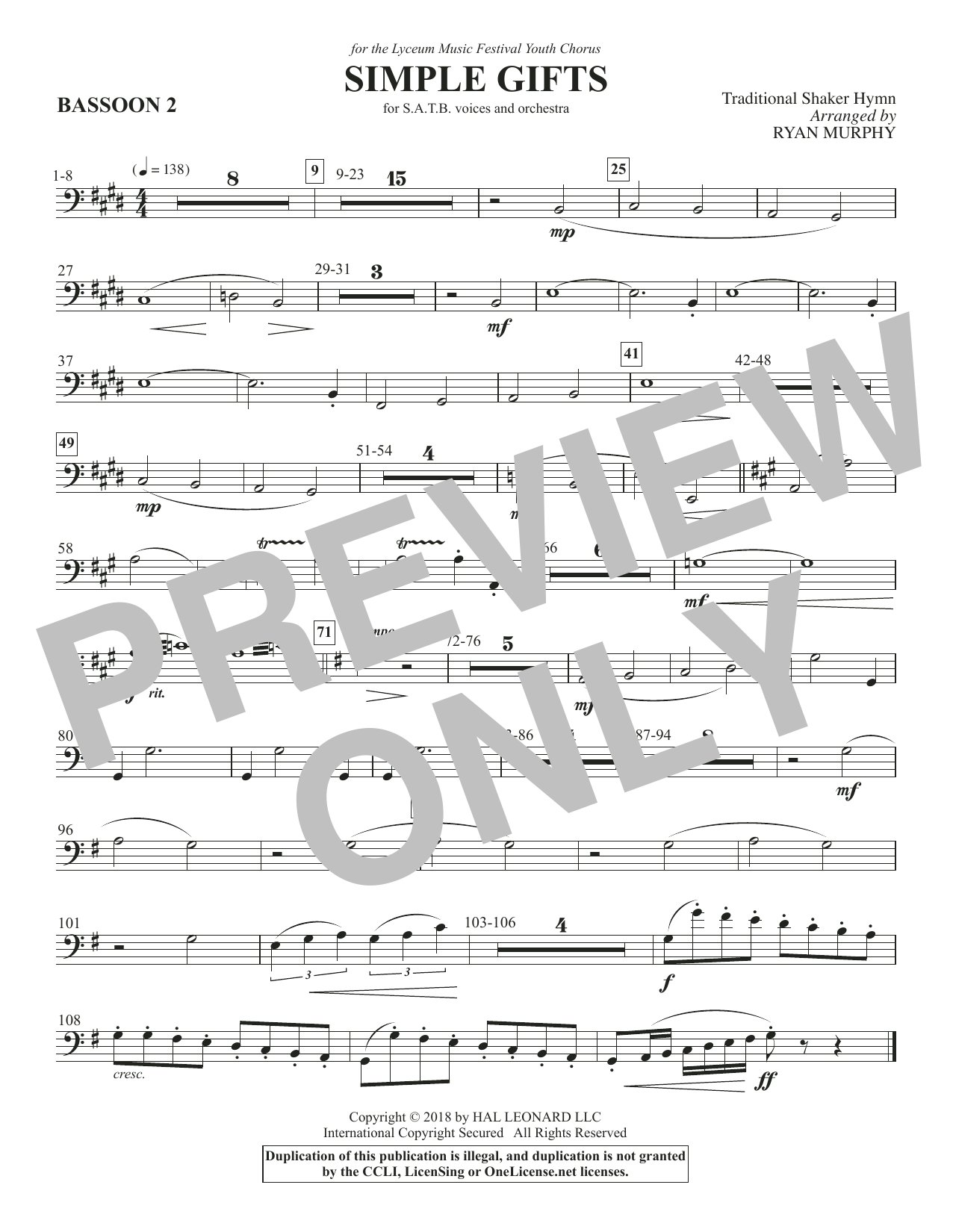 Simple Gifts - Bassoon 2 (Choir Instrumental Pak)