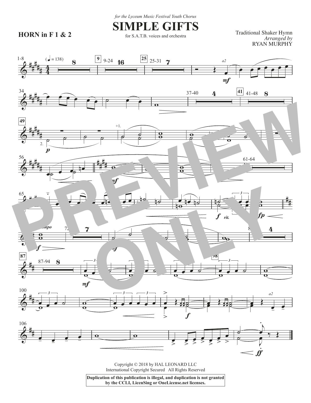 Simple Gifts - F Horn 1 & 2 (Choir Instrumental Pak)