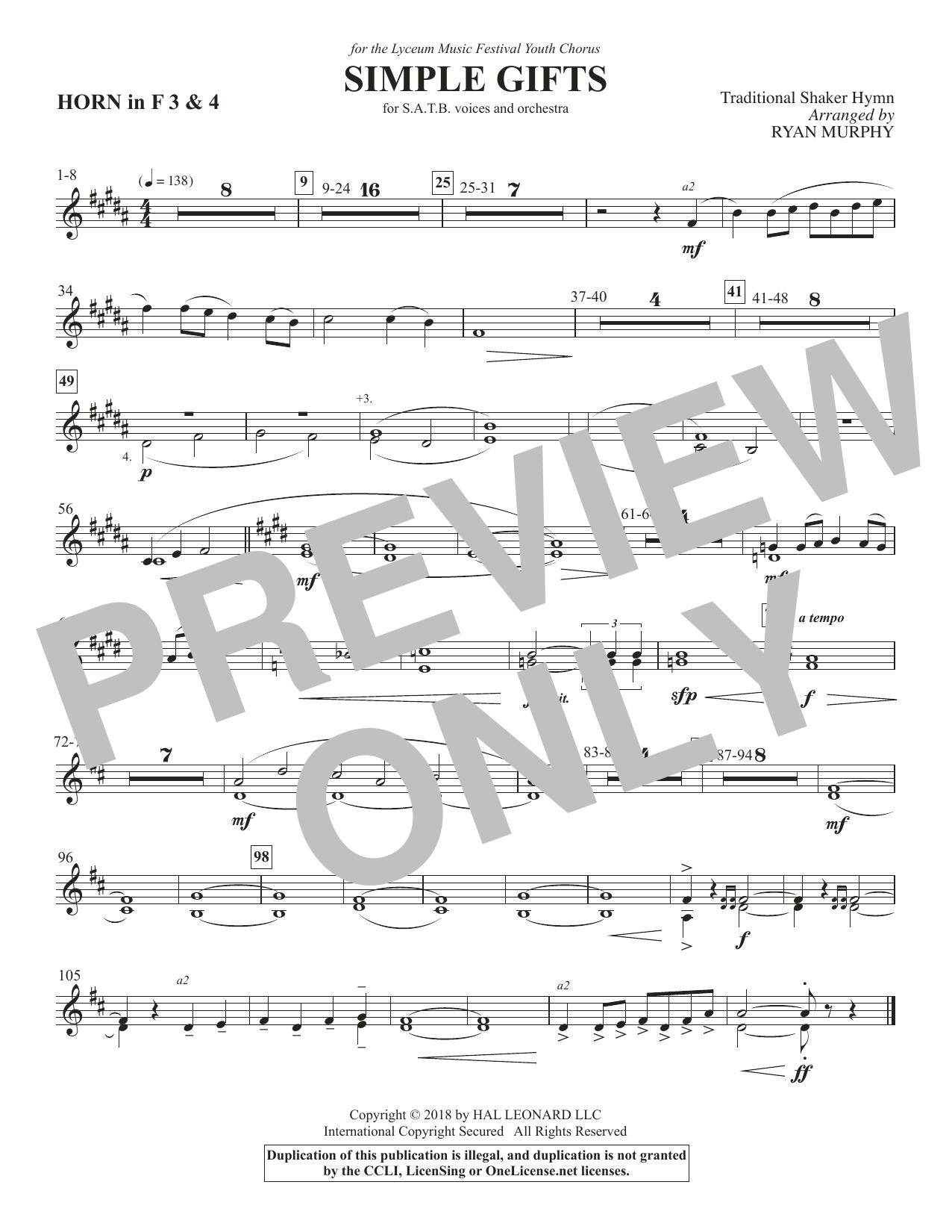 Simple Gifts - F Horn 3 & 4 (Choir Instrumental Pak)