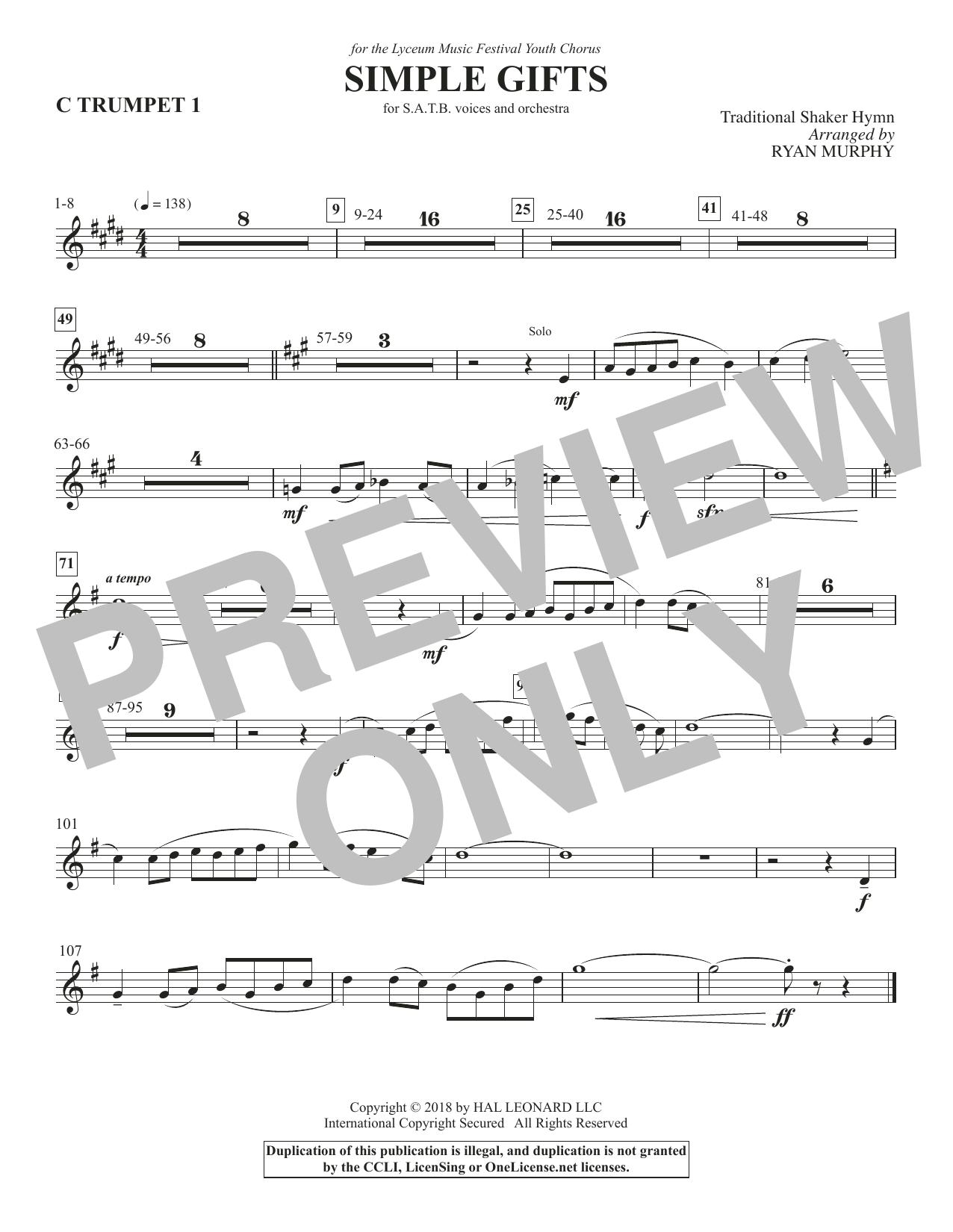 Simple Gifts - Trumpet 1 in C (Choir Instrumental Pak)