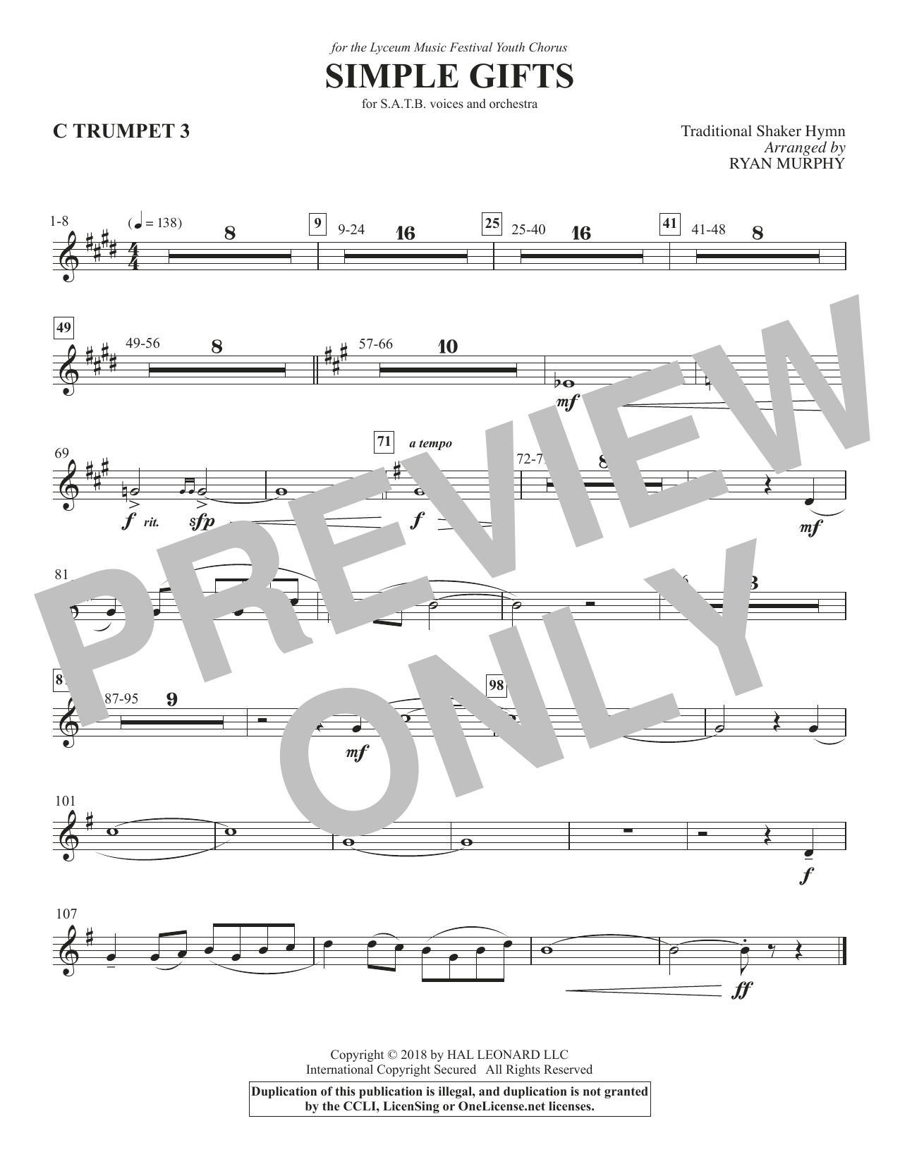 Simple Gifts - Trumpet 3 in C (Choir Instrumental Pak)