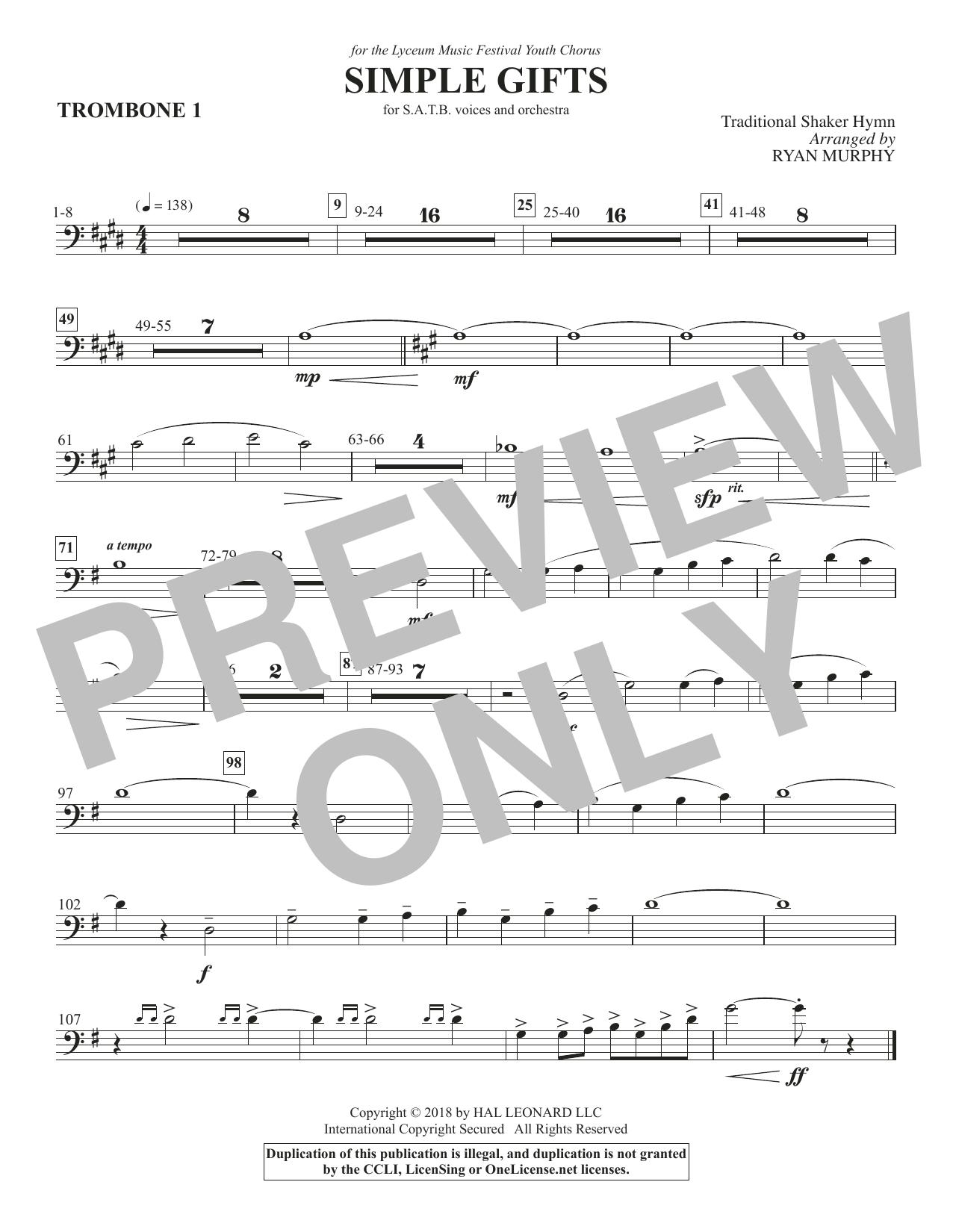 Simple Gifts - Trombone 1 (Choir Instrumental Pak)