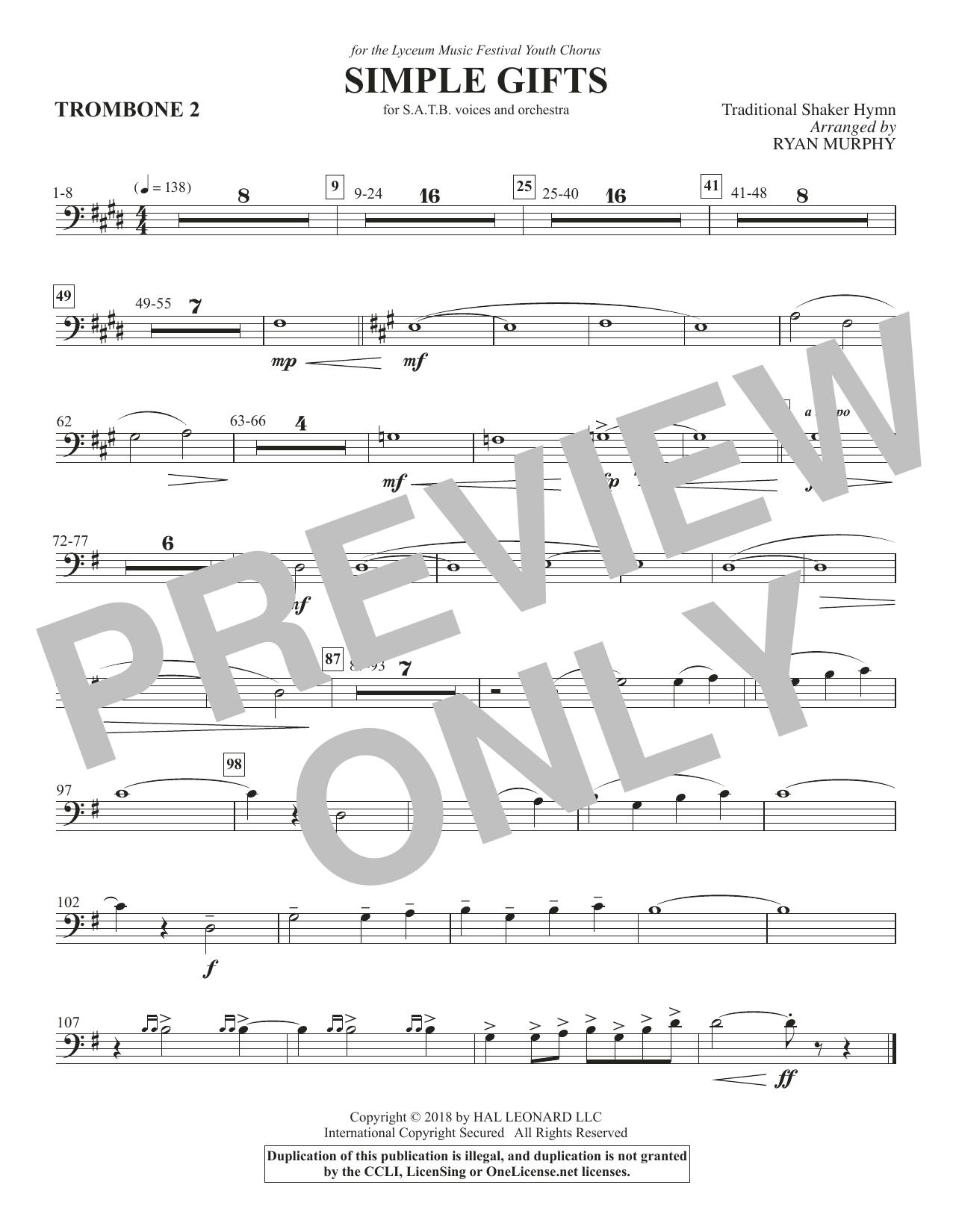 Simple Gifts - Trombone 2 (Choir Instrumental Pak)