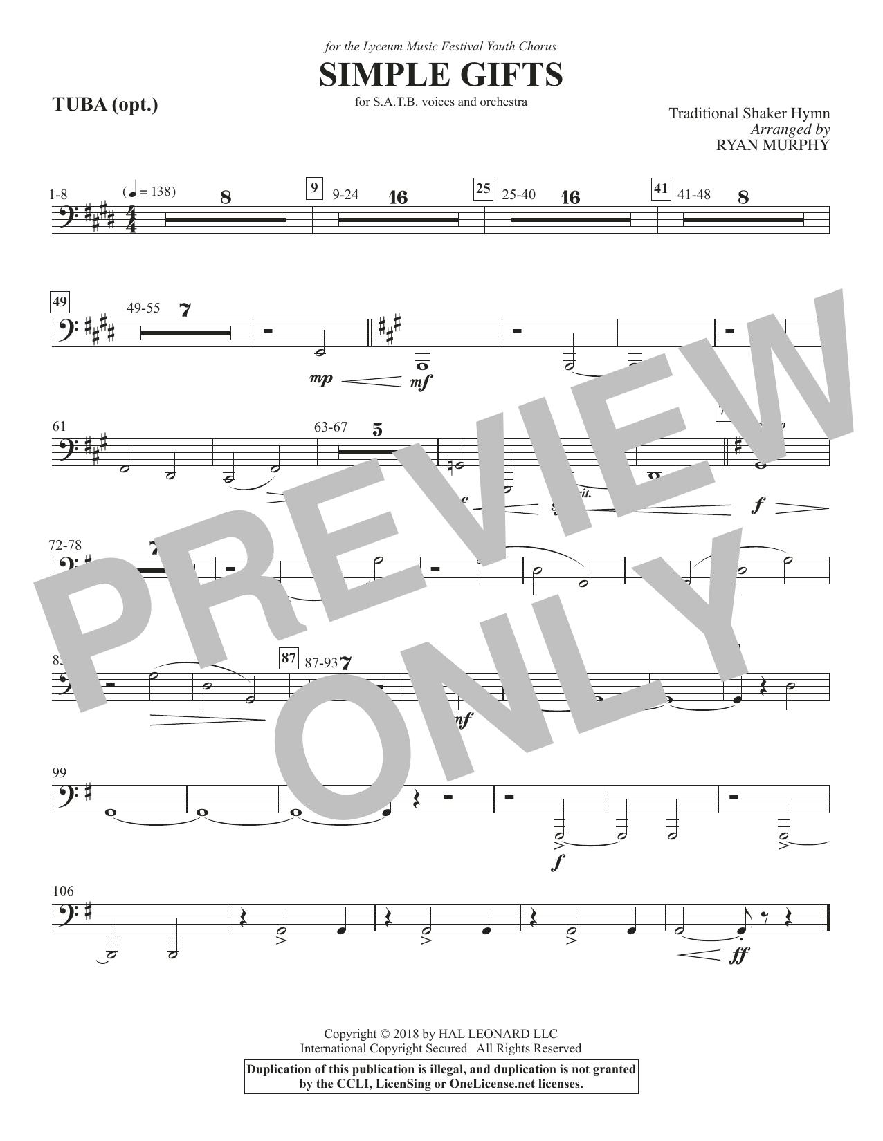 Simple Gifts - Tuba (Choir Instrumental Pak)