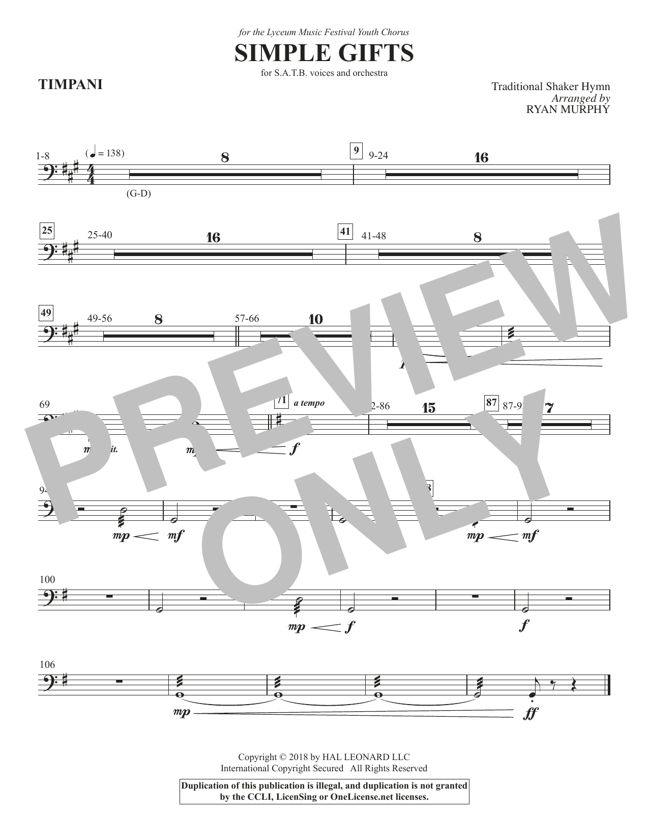Simple Gifts - Timpani (Choir Instrumental Pak)