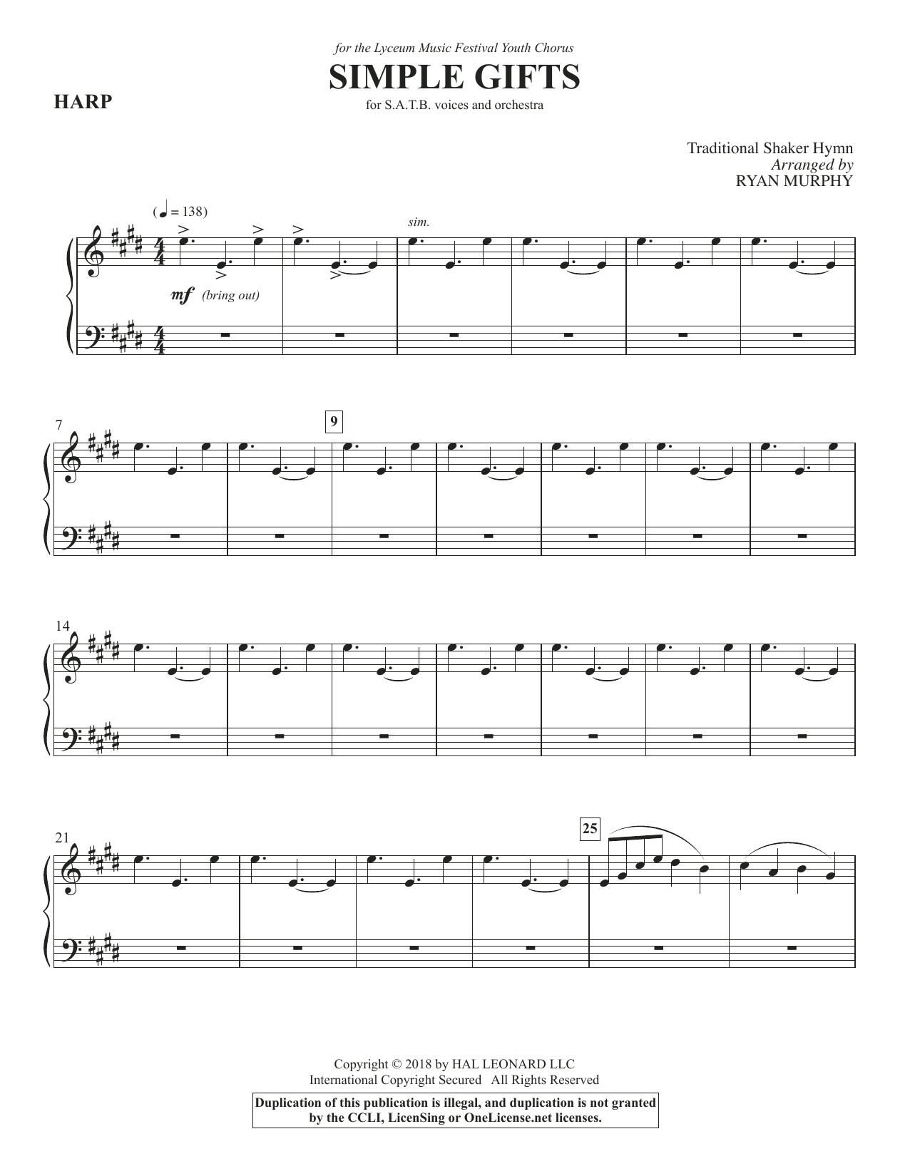 Simple Gifts - Harp (Choir Instrumental Pak)