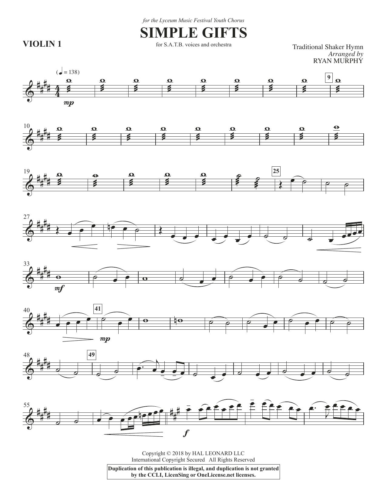 Simple Gifts - Violin 1 (Choir Instrumental Pak)