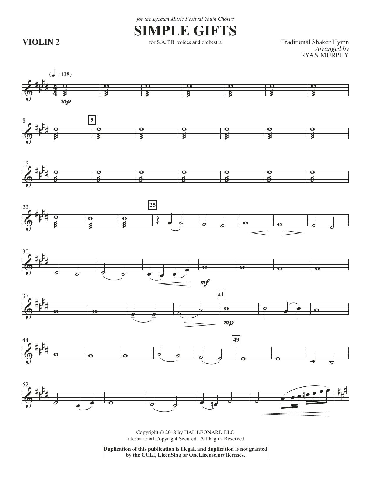 Simple Gifts - Violin 2 (Choir Instrumental Pak)