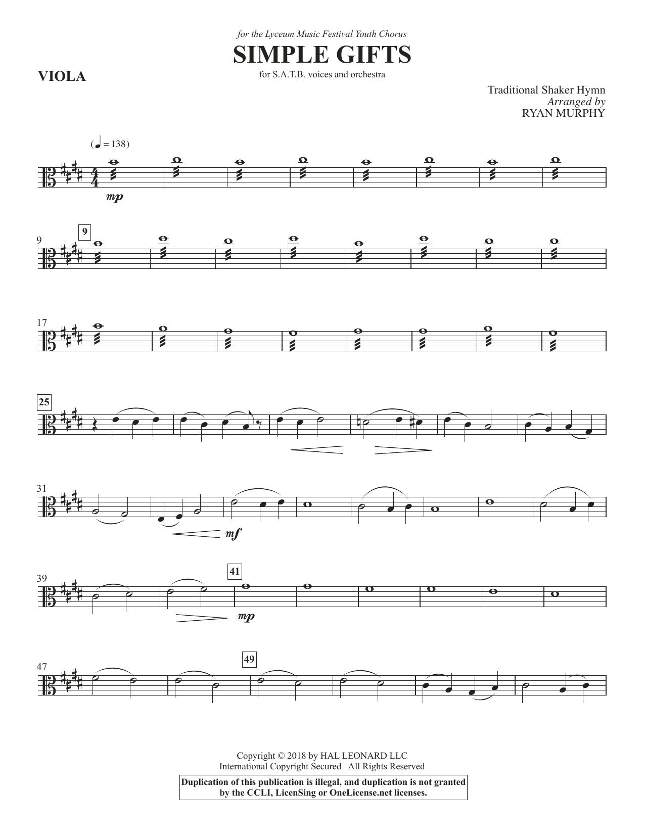Simple Gifts - Viola (Choir Instrumental Pak)