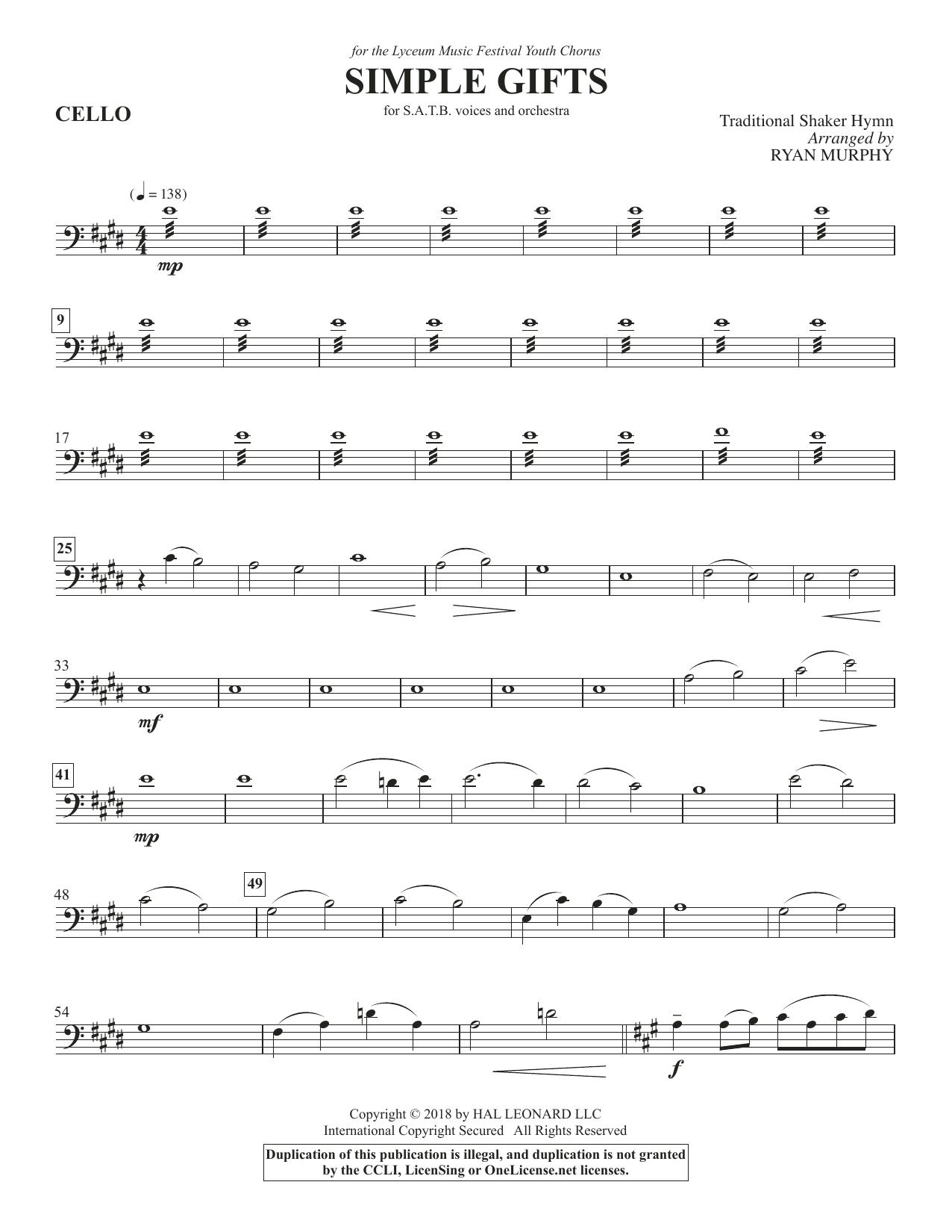 Simple Gifts - Cello (Choir Instrumental Pak)