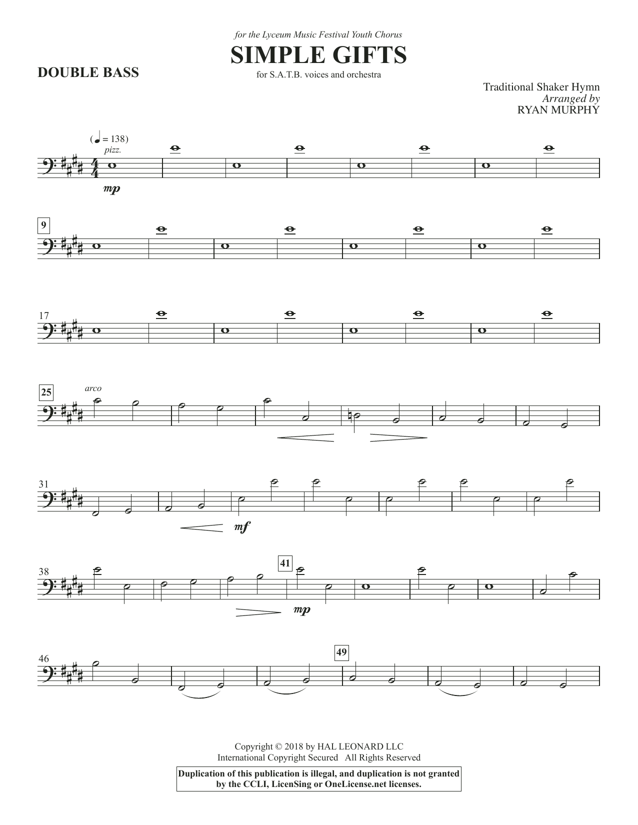 Simple Gifts - Double Bass (Choir Instrumental Pak)