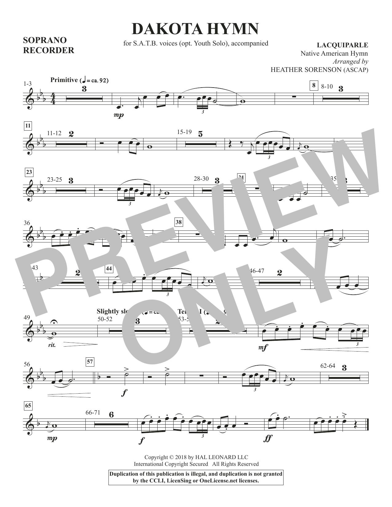 Dakota Hymn - Soprano Recorder (Choir Instrumental Pak)