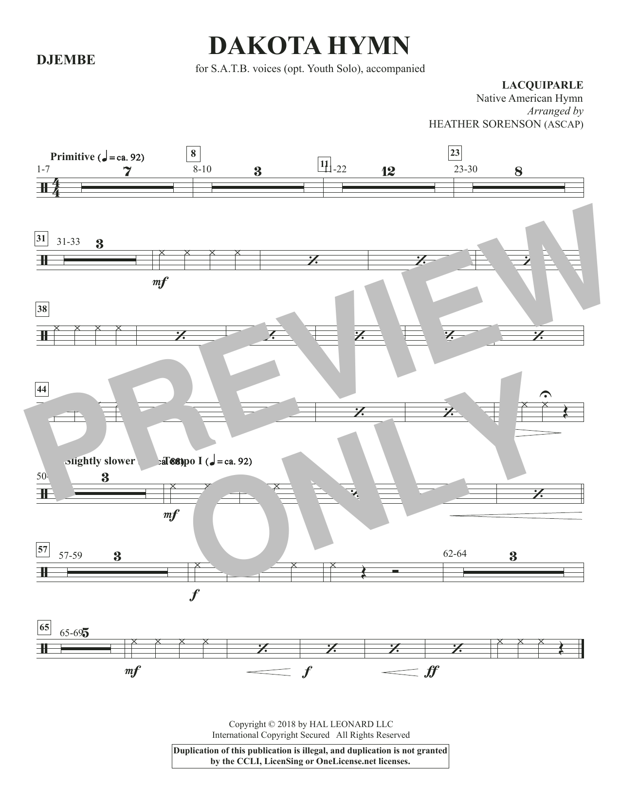 Dakota Hymn - Djembe (Choir Instrumental Pak)