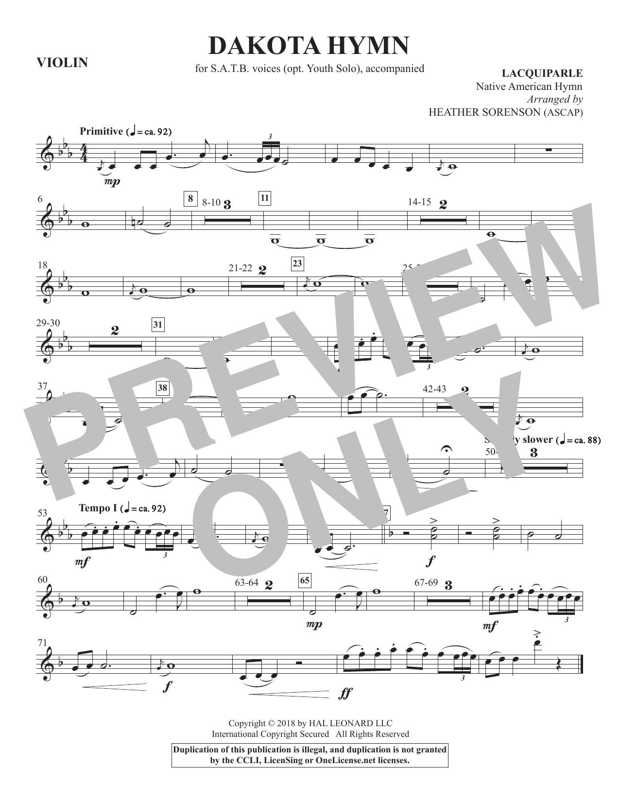 Dakota Hymn - Violin (Choir Instrumental Pak)