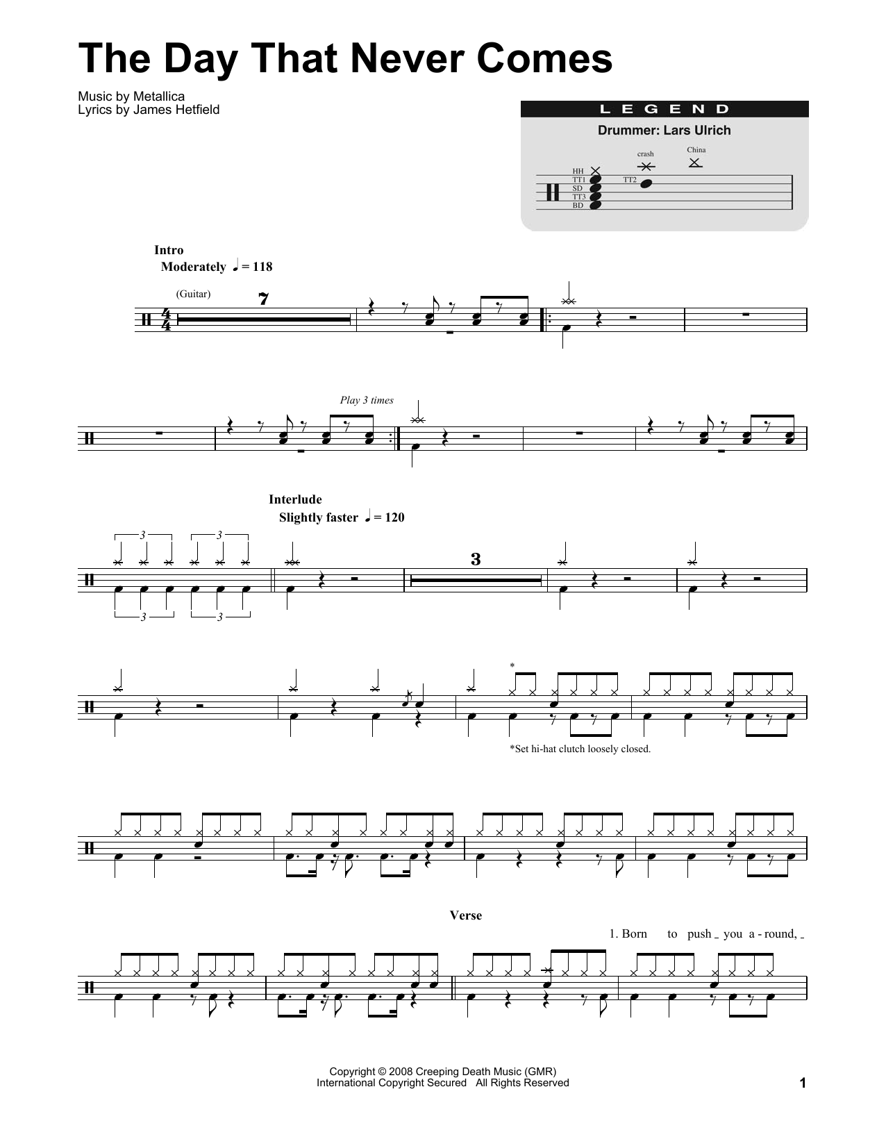 The Day That Never Comes (Drums Transcription)