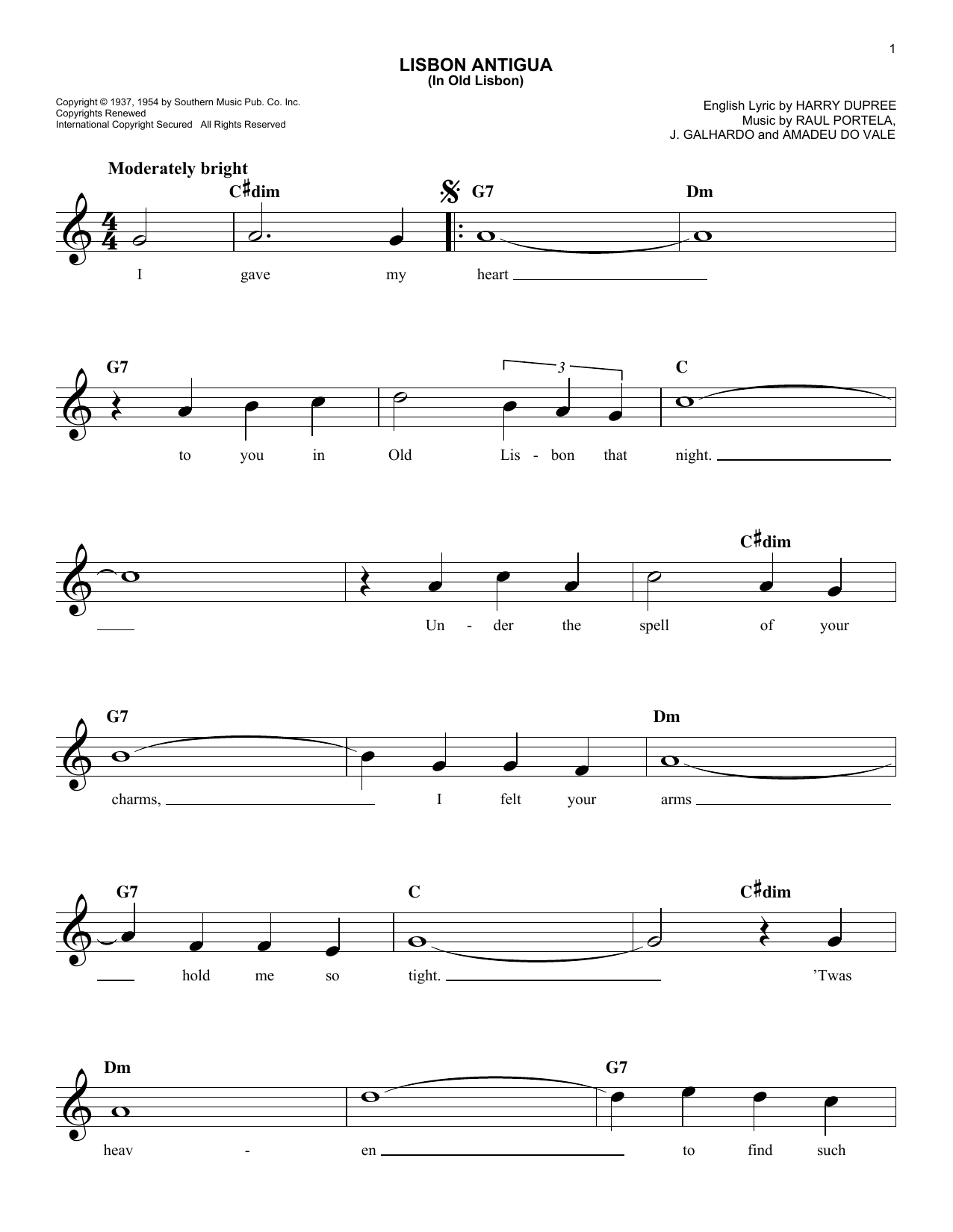 Lisbon Antigua (In Old Lisbon) Sheet Music