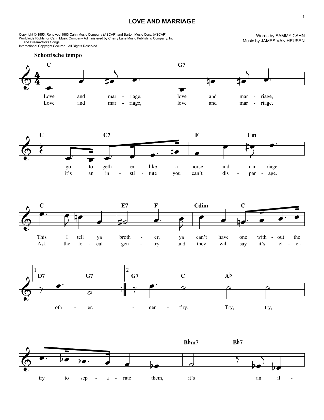 Love And Marriage (Lead Sheet / Fake Book)
