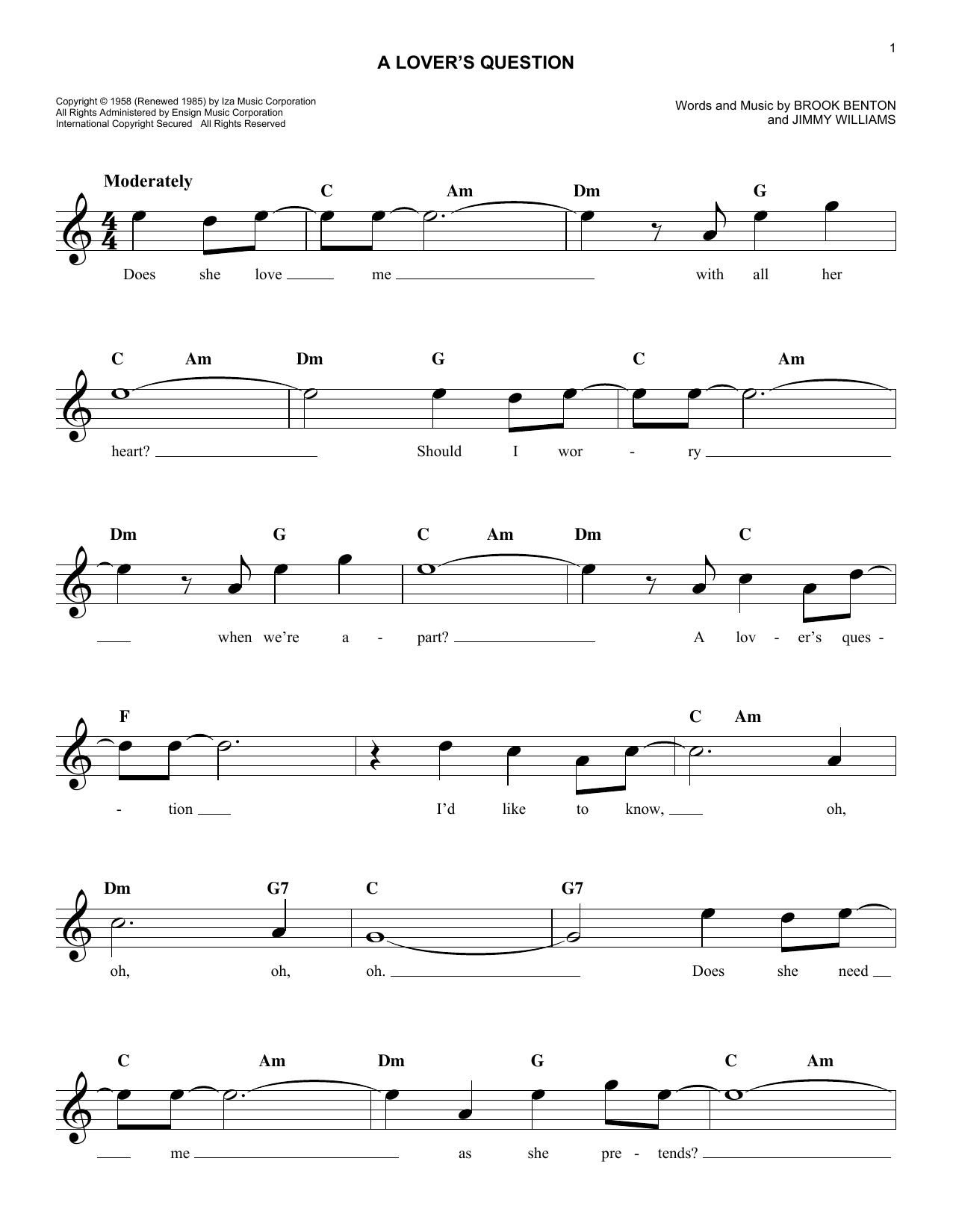 A Lover's Question (Lead Sheet / Fake Book)