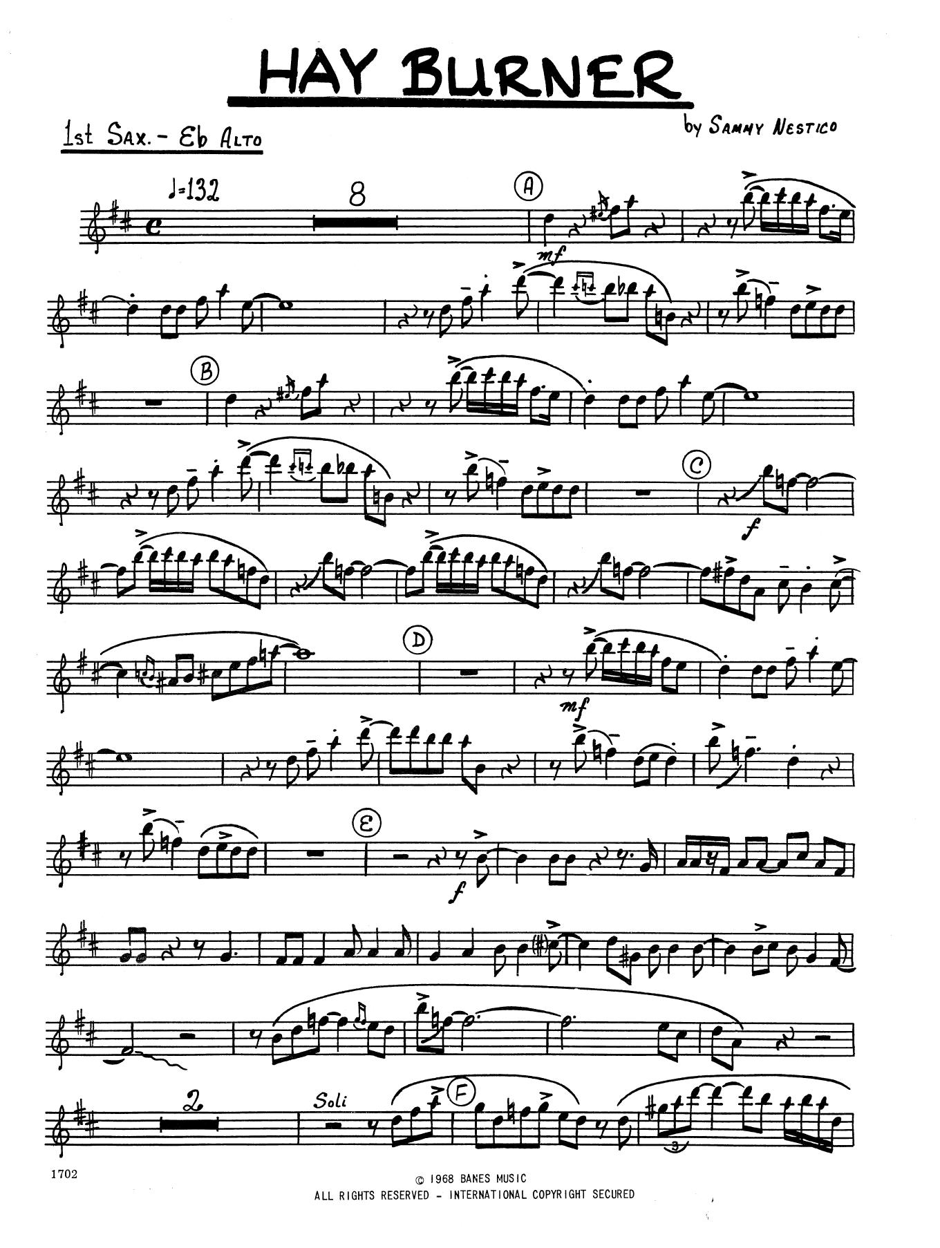 Hay Burner 1st Eb Alto Saxophone At Stantons Sheet Music