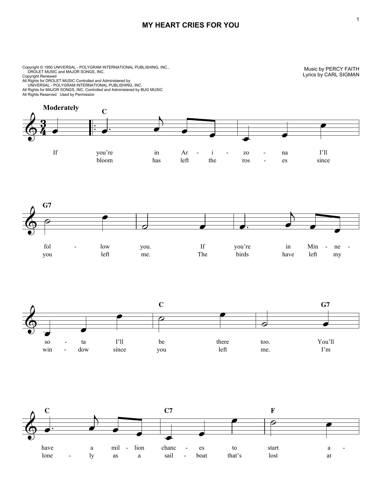 My Heart Cries For You Sheet Music