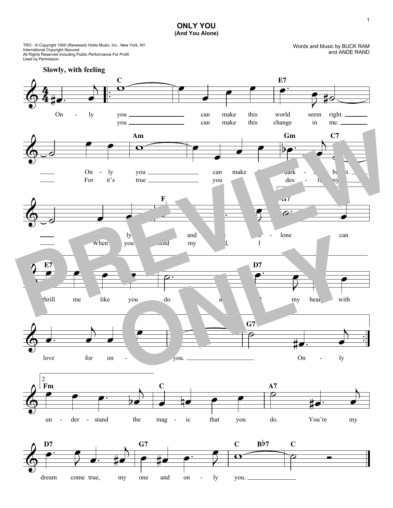 Only You (And You Alone) (Lead Sheet / Fake Book)