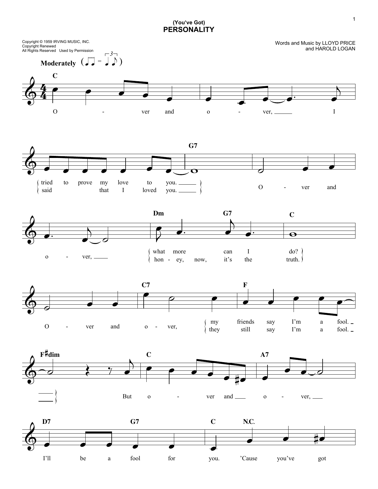 (You've Got) Personality (Lead Sheet / Fake Book)