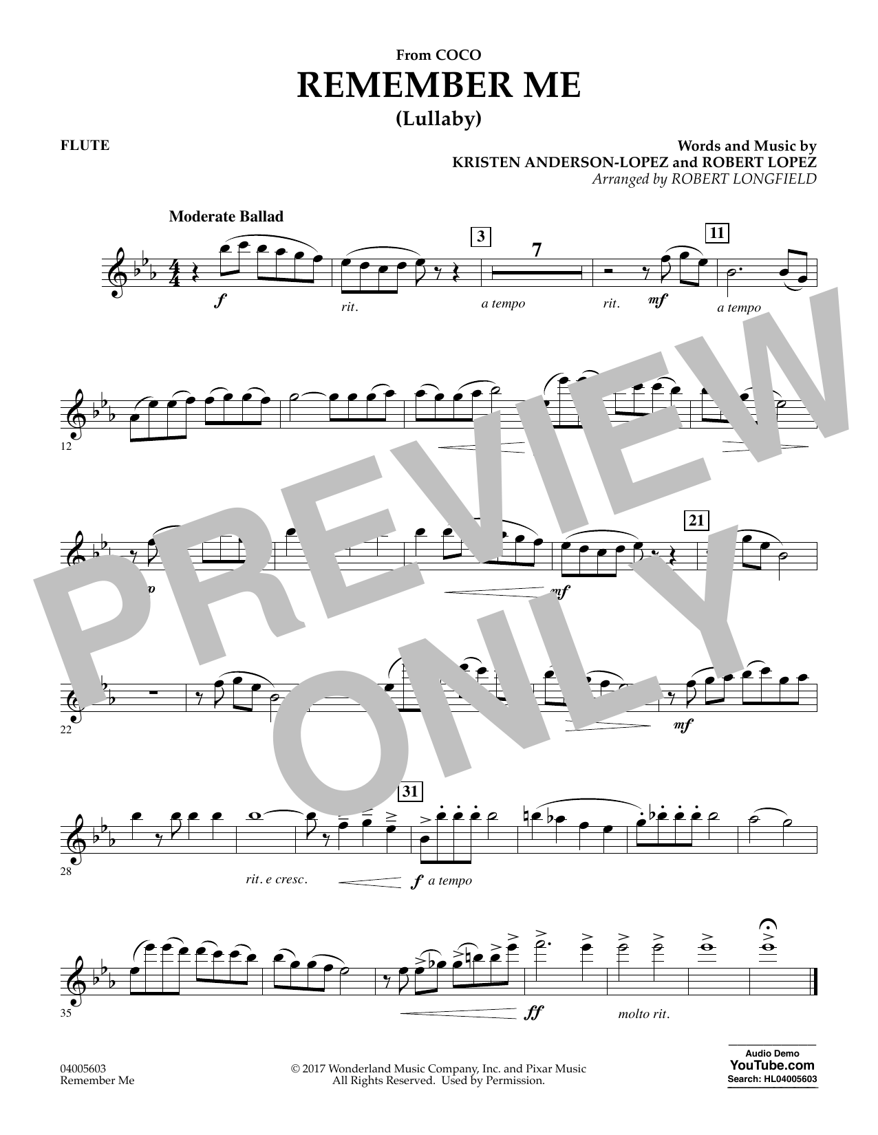 Remember Me - Flute (Concert Band)